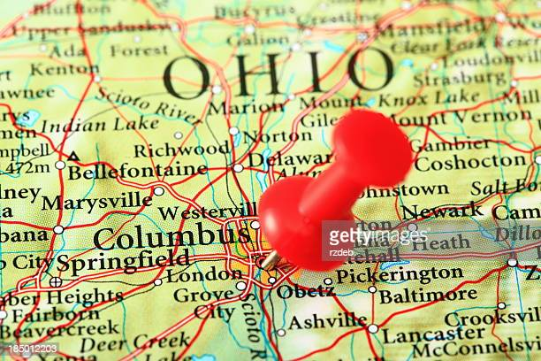columbus map, ohio - usa - ohio stock photos and pictures