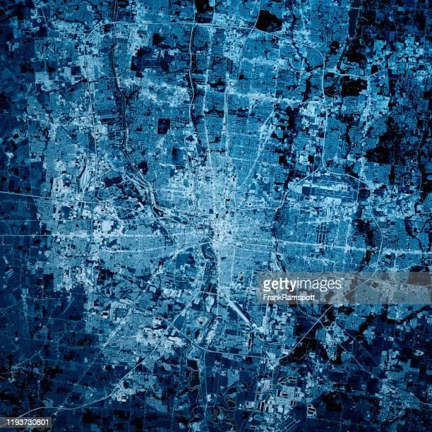 コロンバスオハイオ3dレンダーマップブルートップビュー9月2019 - オハイオ州コロンバス ストックフォトと画像