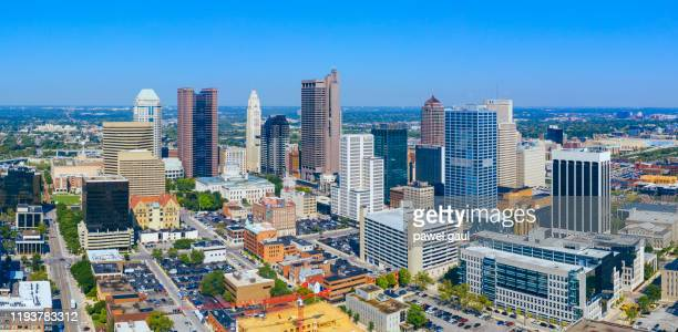 columbus ohio downtown aerial view - columbus ohio stock pictures, royalty-free photos & images
