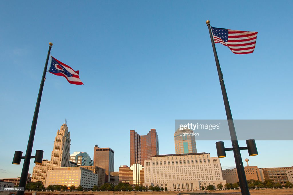 Columbus, Ohio Downtown Skyline with Flags : Stock Photo