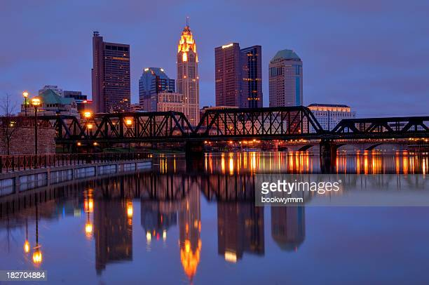 Columbus, Ohio skyline reflected on river water