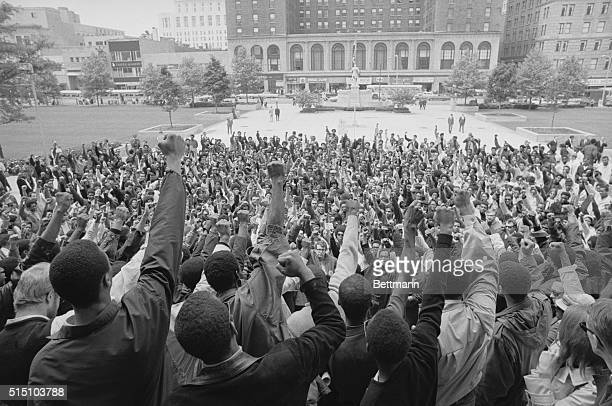 Students from Central State University give the black power salute during a meeting on the steps of the State House 5/22 About 500 students from the...