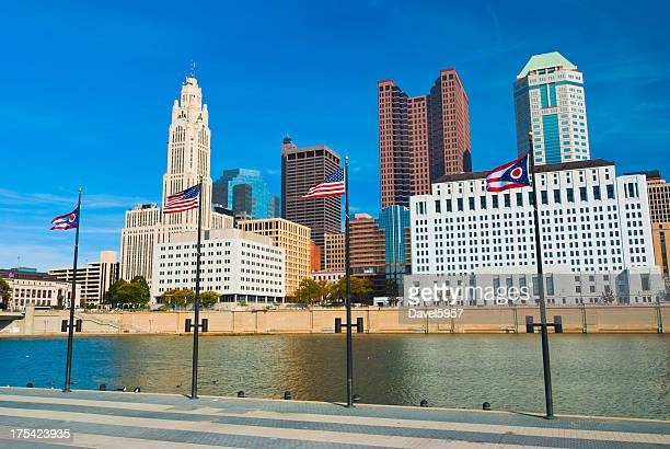 Columbus skyline and flags
