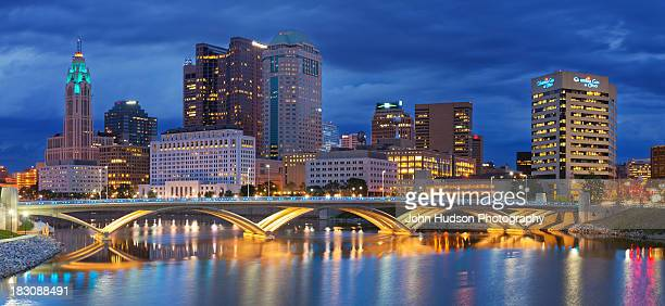 columbus skyline panorama 2012 - columbus ohio stock pictures, royalty-free photos & images