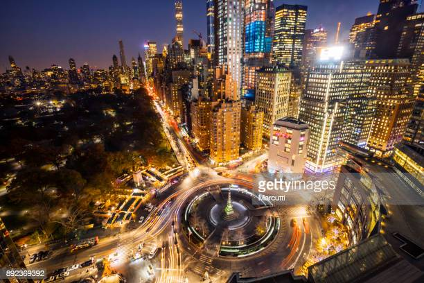 Columbus square from above at night, New York