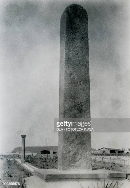 A column and a stele in Axum Ethiopia photograph by Ugo Monneret de Villard 1937