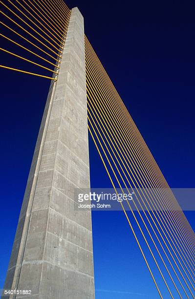 column and cables on sunshine skyway bridge - sunshine skyway bridge stock photos and pictures