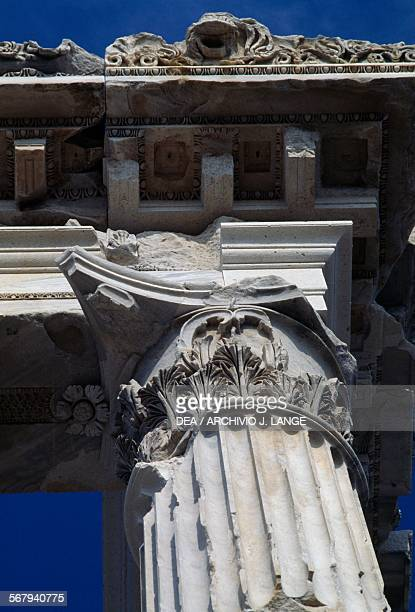 Column and entablature of the Temple of Trajan or Trajaneum 120125 AD Pergamon Turkey Roman civilisation 2nd century AD Detail