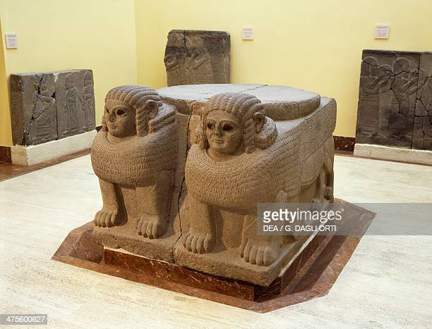 Column base with double sphinx in basalt from the ancient Hittite city of Samal Zincirli Anatolia Turkey Hittite civilisation 8th century BC Istanbul...
