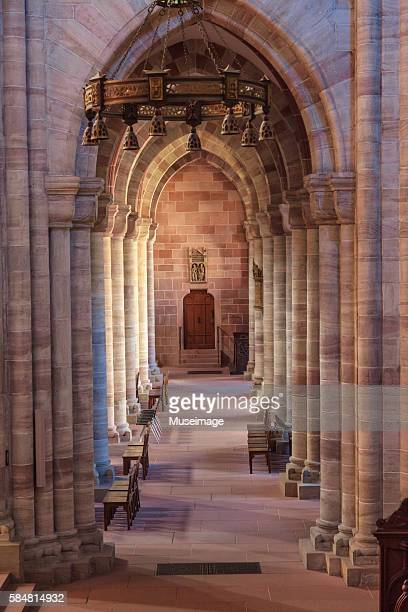 column of basel cathedral - minster stock photos and pictures