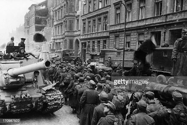 Column of german pow's on their way to a gathering depot in berlin, germany at the end of world war 2, 1945.