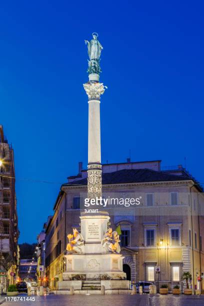 column of the immaculate conception, rome, italy - vergine maria foto e immagini stock