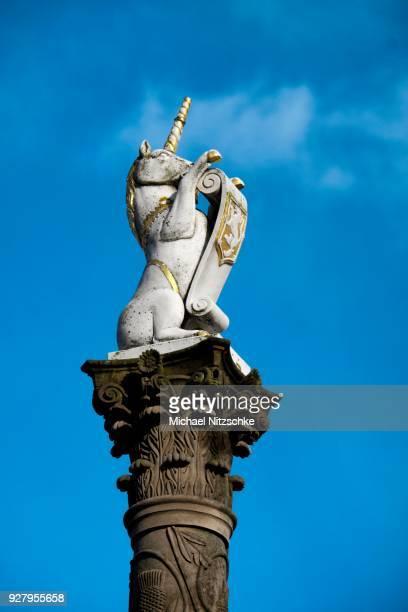 Column with unicorn, national symbol of Scotland, Aberdeen, Scotland, United Kingdom