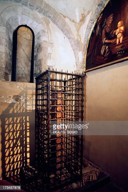 Column within the railing red marble crypt Basilica di San Nicola Bari Puglia Italy 12th century