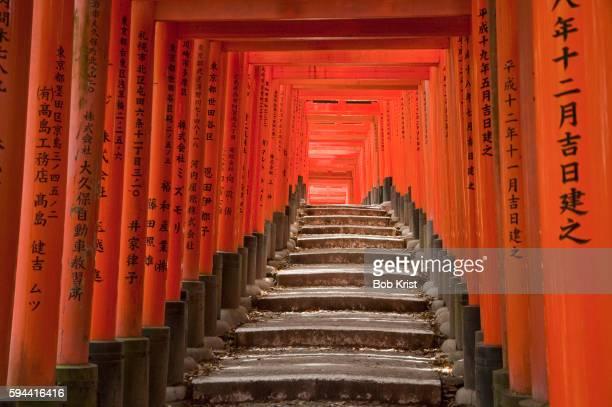 Columned stairway at Fushimi Inari shrine, Kyoto, Japan