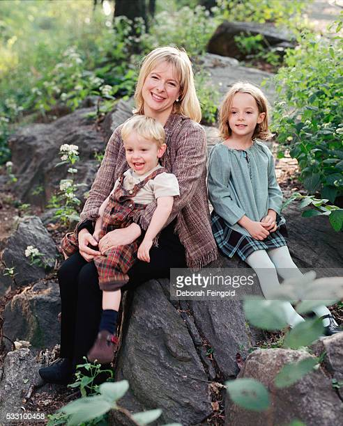 Columnist Allison Pearson Outside with Her Children