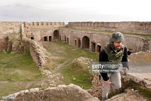 Columnist Bill Nemitz climbs stairs at the St Elijah monastery on December 24 2004 in Mosul Iraq Satellite imagery shows that ISIS has destroyed the...