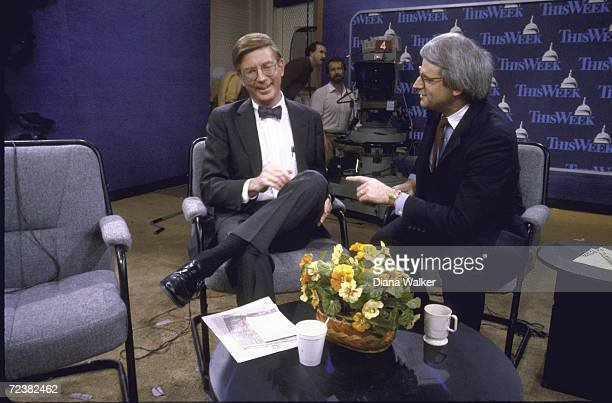 """Columnist George Will chatting with OMB Director David Stockman on set of TV show """"This Week.""""."""