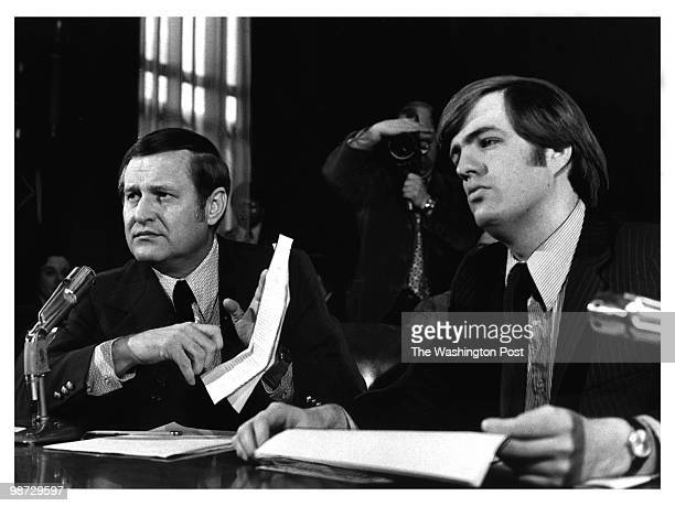 Columnist Jack Anderson and an associate Brit Hume testify during the ITTKleindienst hearings