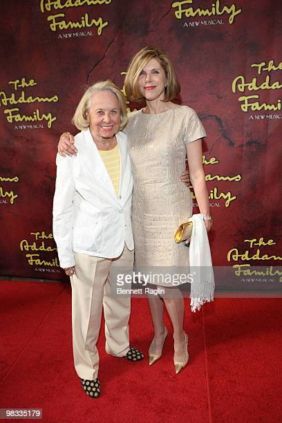 Columnist Liz Smith and Christine Baranski attend the Broadway opening of The Addams Family at the LuntFontanne Theatre on April 8 2010 in New York...