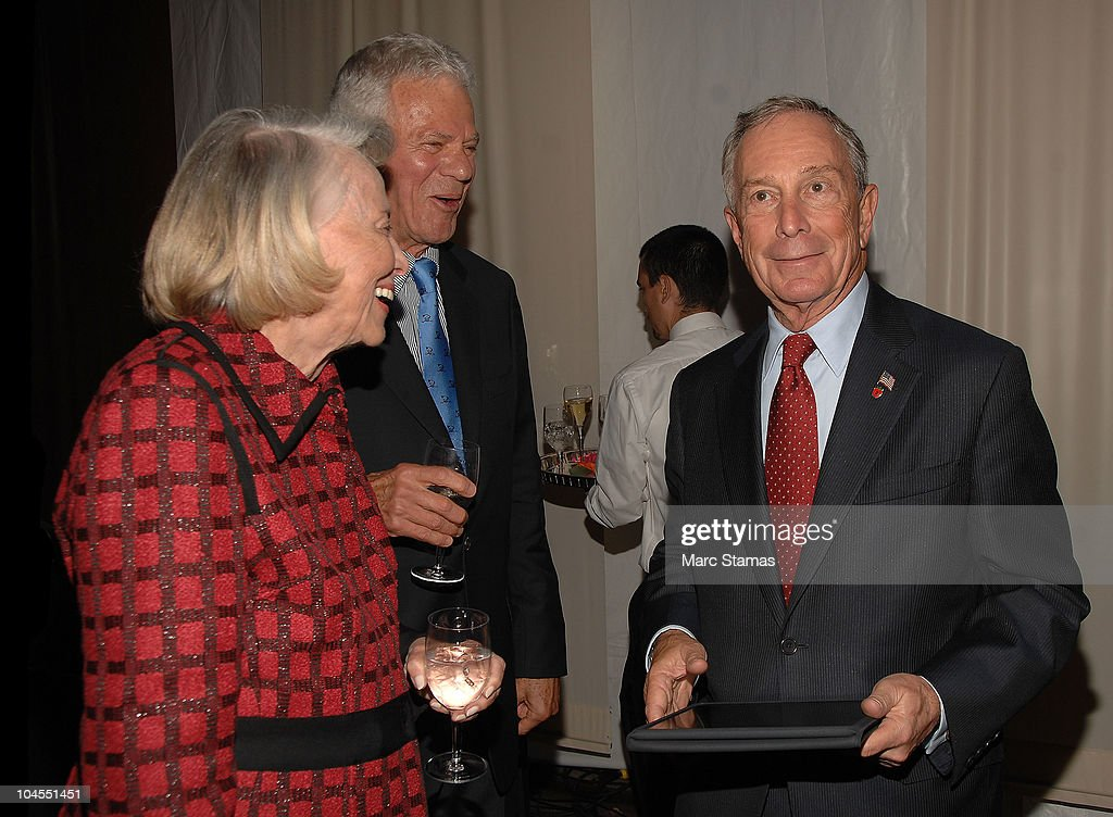 Columnist Liz Smith (L) and Mayor Michael Bloomberg (R) attend the 7th Annual Fete De Swifty benefit on September 29, 2010 in New York City.