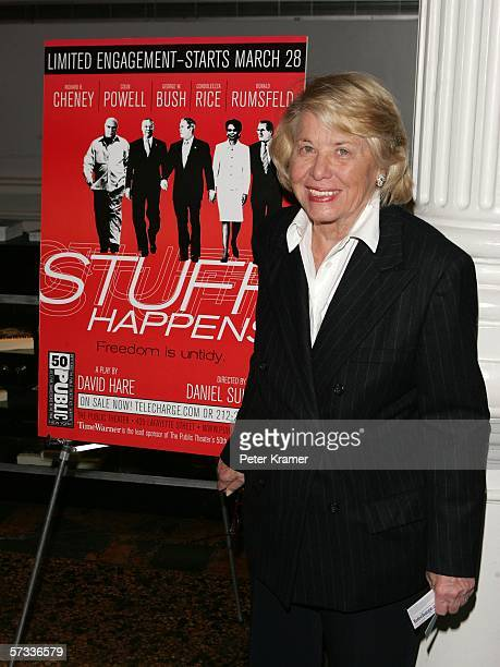 Columnist Liz Smith attends the opening night of Stuff Happens at the Public Theatre on April 13 2006 in New York City