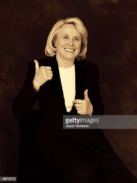 Columnist Liz Smith poses at Joyce Tenneson's photography studio May 22 2001 in New York City