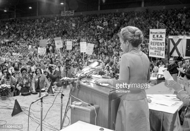 Columnist Phyllis Scholarly speaks to a rally of 10000 opponents of the National Women's Conference at a family day rally at the Astro Arena In the...