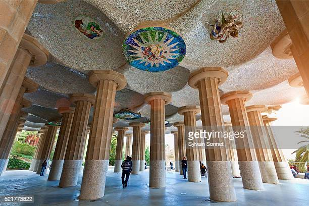 Columns and ceiling of court in Parc Guell, Barcelona, Spain