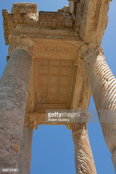 Columns and ceiling of the monumental gateway to the Sanctuary of Aphrodite at Aphrodisias.