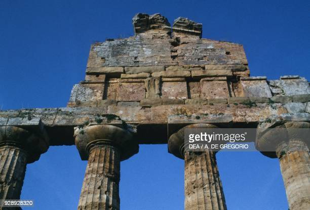 Columns and ruins of the fronton of the Temple of Athena or Ceres Paestum Capaccio Campania Italy Magna Graecia civilization 6th century BC