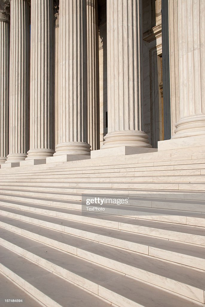 Columns and steps outside the US Supreme Court : Stock Photo