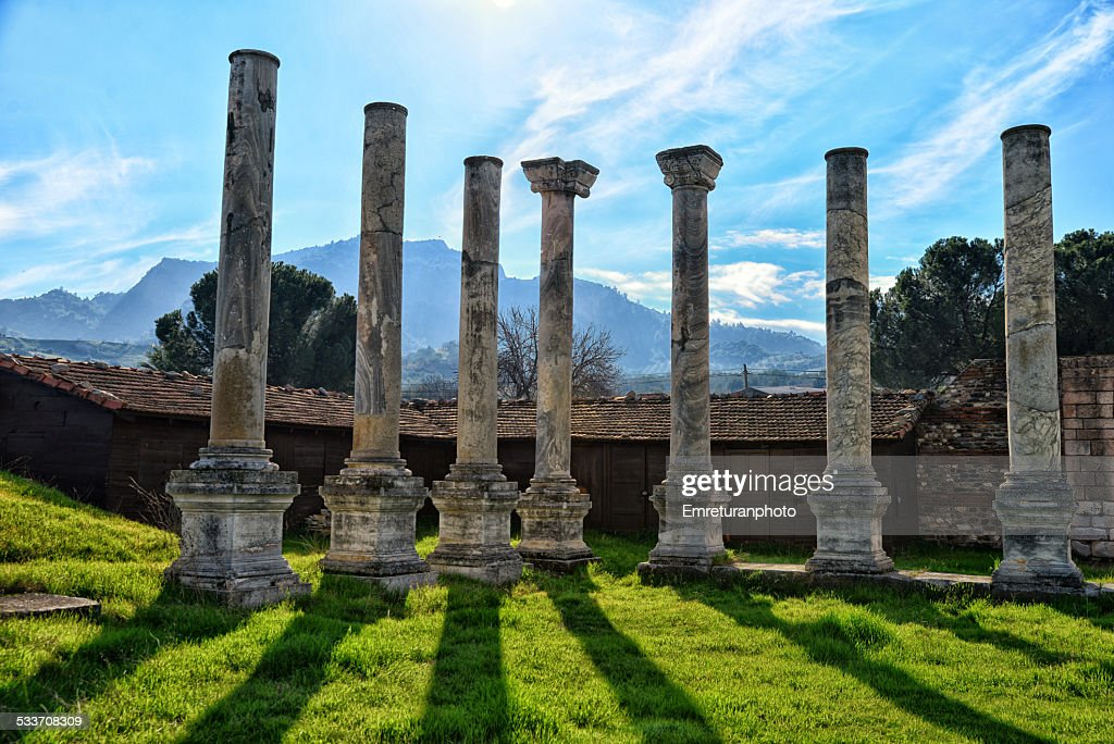 Columns around the open court, Sardis, Manisa : Foto stock
