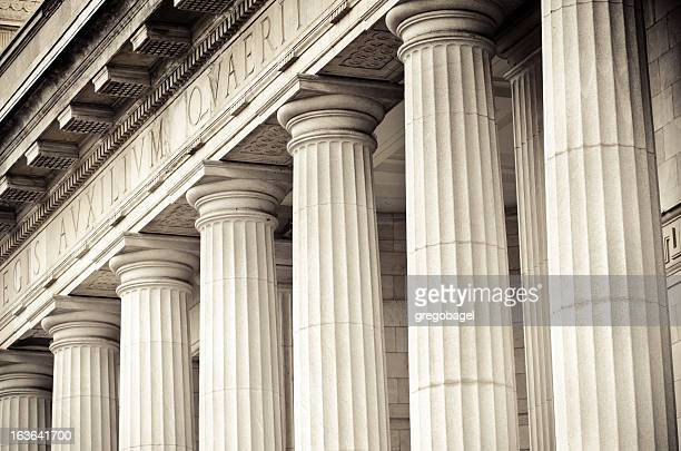 columns at édifice ernest-cormier in montreal, quebec - courthouse stock pictures, royalty-free photos & images