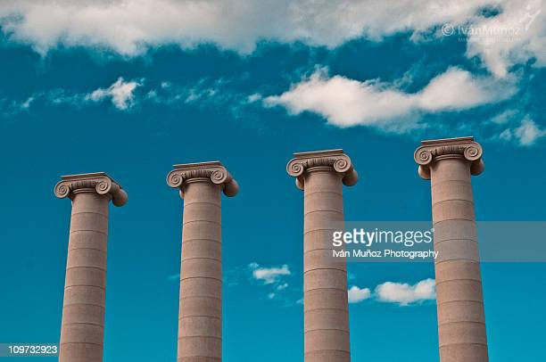 columns at plaza spain. barcelona - column stock pictures, royalty-free photos & images