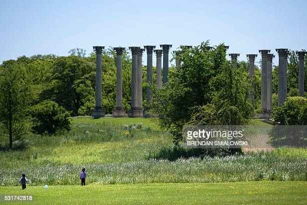 Columns from the east portico of the US Capitol are seen on May 16 at the National Arboretum in WashingtonDC after they were removed during an...