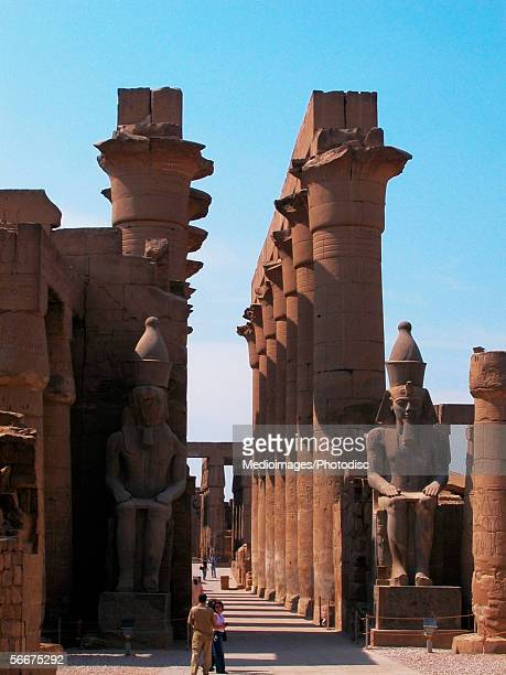columns in a temple, temples of karnak, luxor, egypt - karnak fotografías e imágenes de stock