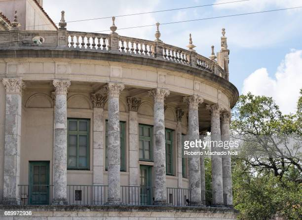 Columns in balcony of the Coral Gables City Hall which is a registered US Historic Place and a major tourist attraction in the city It has a...