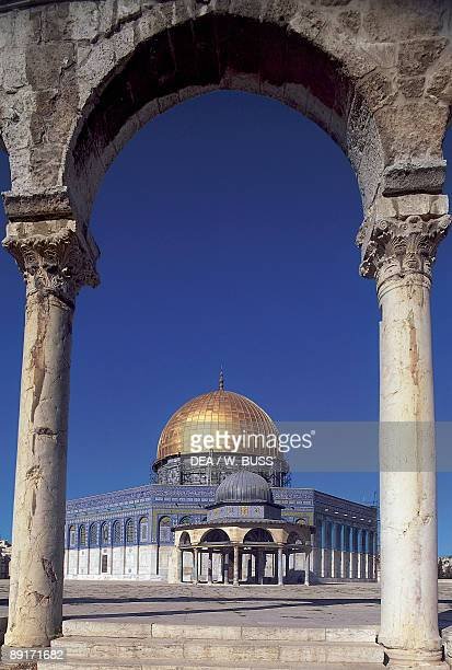Columns in front of a mosque Dome Of The Rock Jerusalem Israel