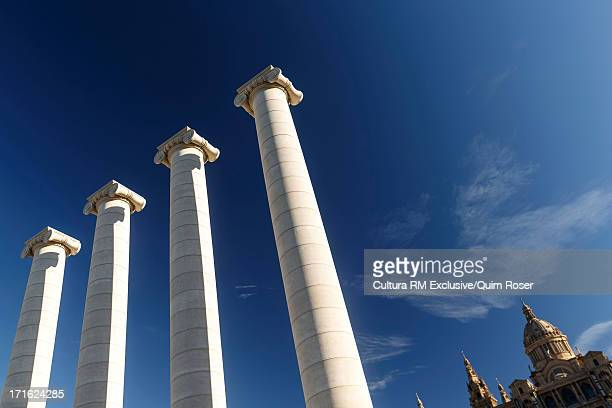 Columns in front of Catalonia National Museum of Art, National Palace, Montjuic hill, Barcelona, Spain
