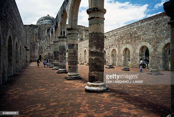 Columns in the monastery of Santiago Apostol Cuilapan Oaxaca Mexico 16th century