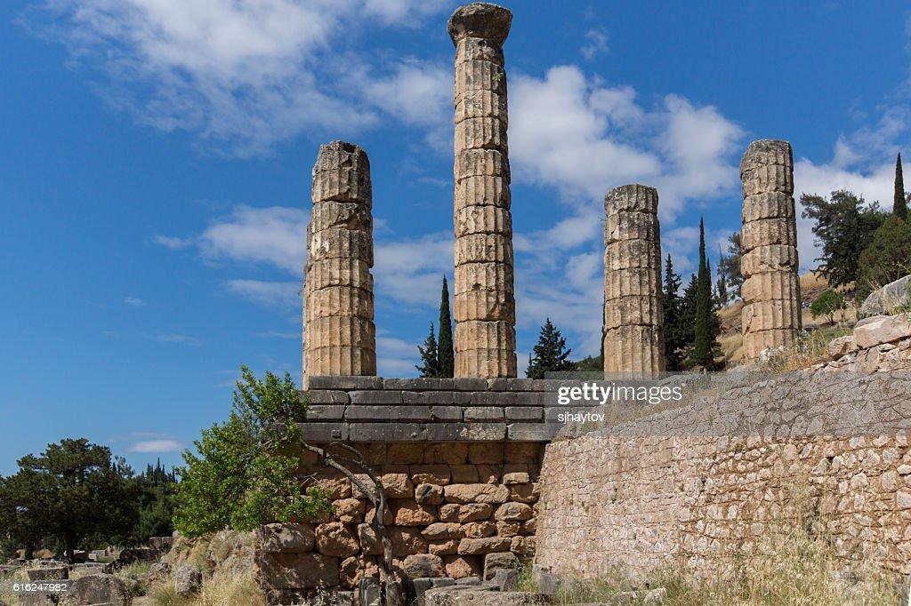 Columns in The Temple of Apollo in Delphi, Central Greece : Foto de stock