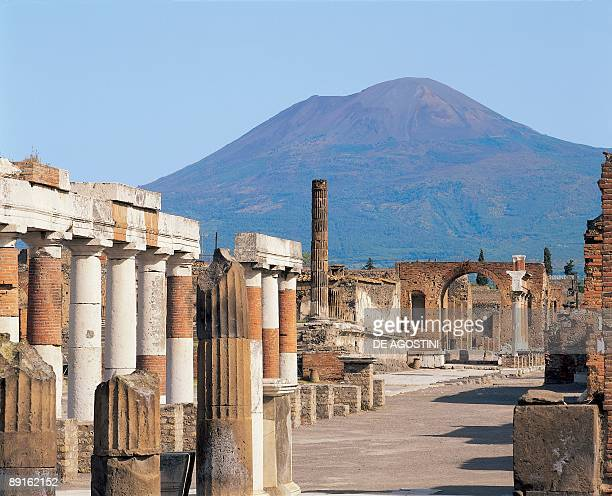 Columns of an old building Pompeii Campania Italy