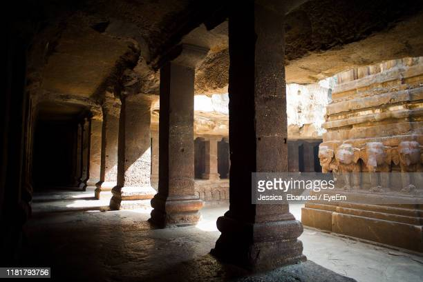 columns of historic building - ellora stock pictures, royalty-free photos & images