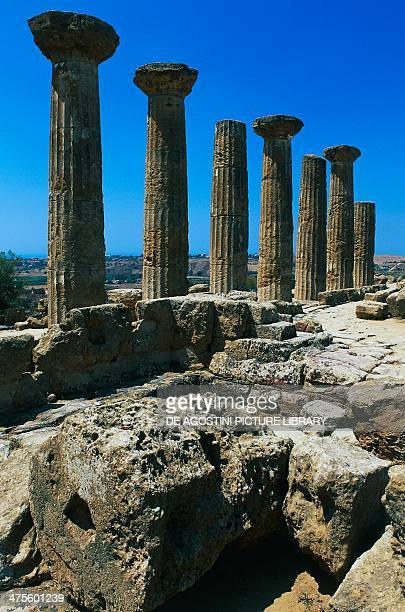 Columns of Temple of Hercules Agrigento Sicily Italy Greek civilisation 6th century BC