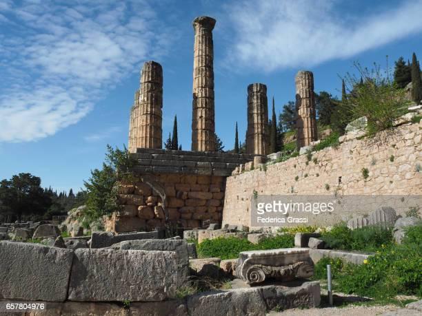 columns of the temple of apollo, delphi - ユネスコ ストックフォトと画像