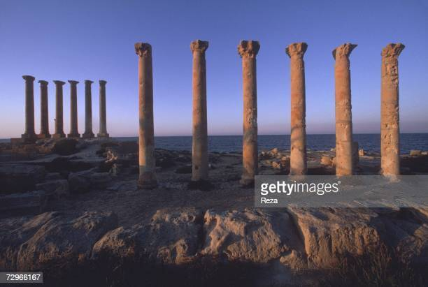 Columns stand like sentinels overlooking the Mediterranean ocean part of the public baths in Sabratha in the ancient region of Tripolitania May 2000...