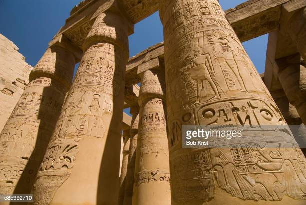 Columns with Hieroglyphs at Karnak Temple