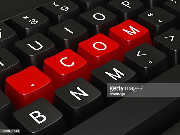 .com writing on keyboard keys - www stock pictures, royalty-free photos & images