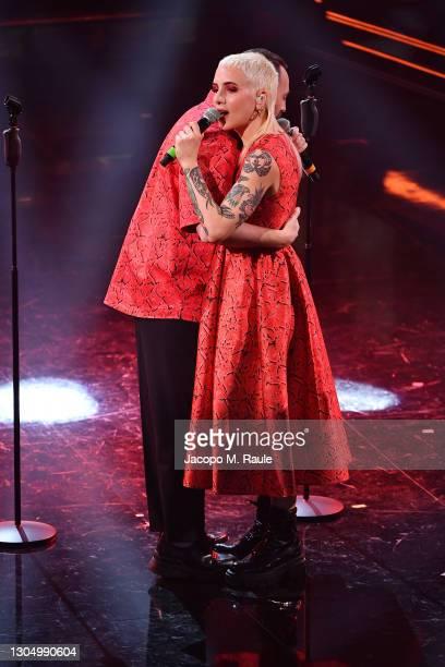 Coma Cose perform at the 71th Sanremo Music Festival 2021 at Teatro Ariston on March 02, 2021 in Sanremo, Italy.